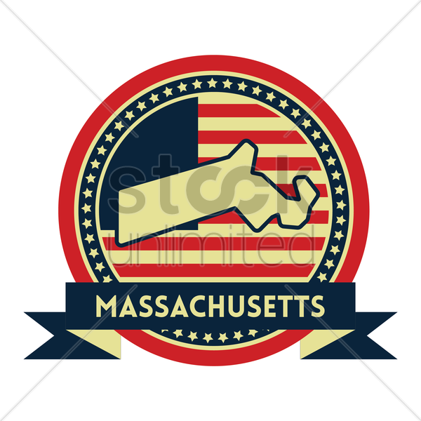 Free massachusetts map label vector graphic