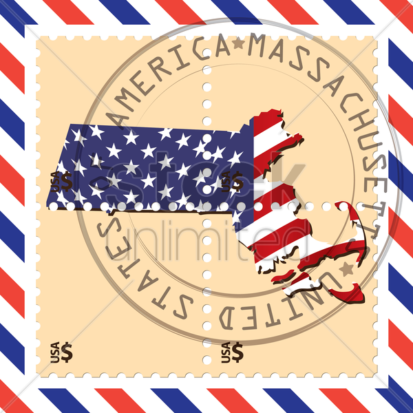 massachusetts stamp vector graphic