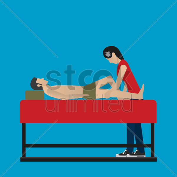 masseuse giving a full body massage vector graphic