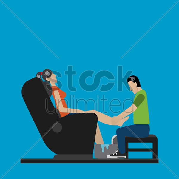 masseuse giving a leg massage vector graphic