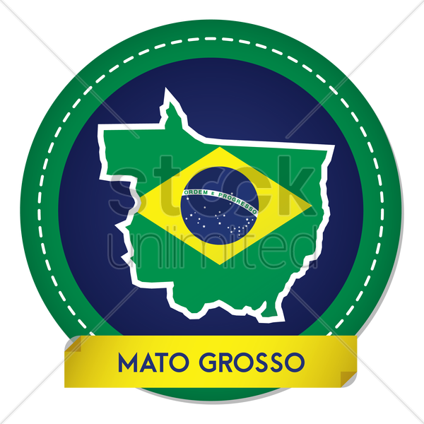 mato grosso map sticker vector graphic