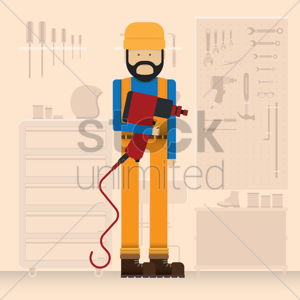 mechanic holding a electric drill vector graphic