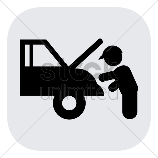 mechanic repairing a car vector graphic