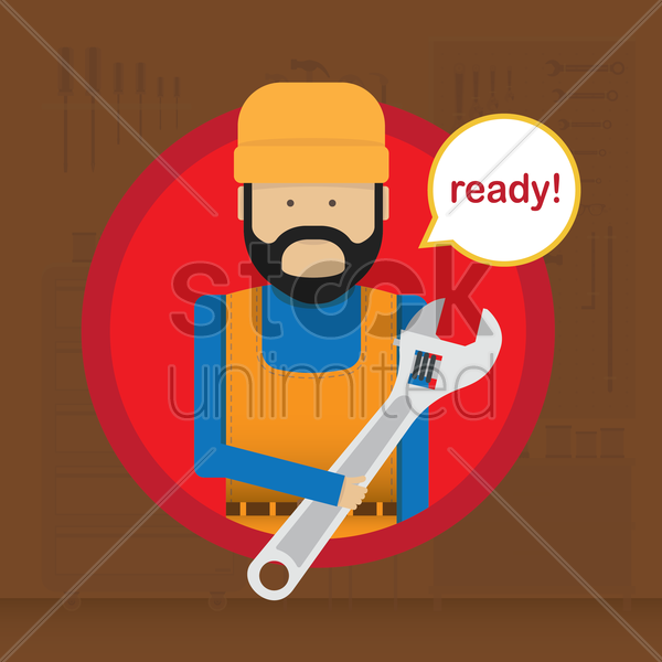 mechanic that's ready vector graphic