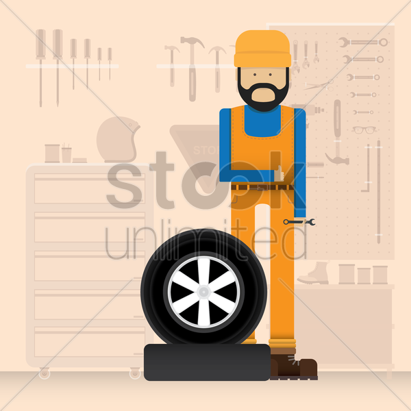 mechanic with a tyre vector graphic