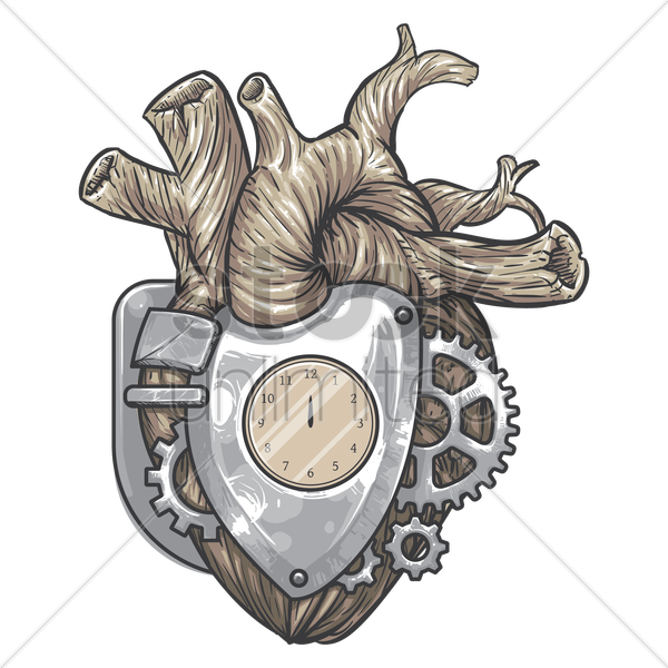 mechanical heart vector graphic