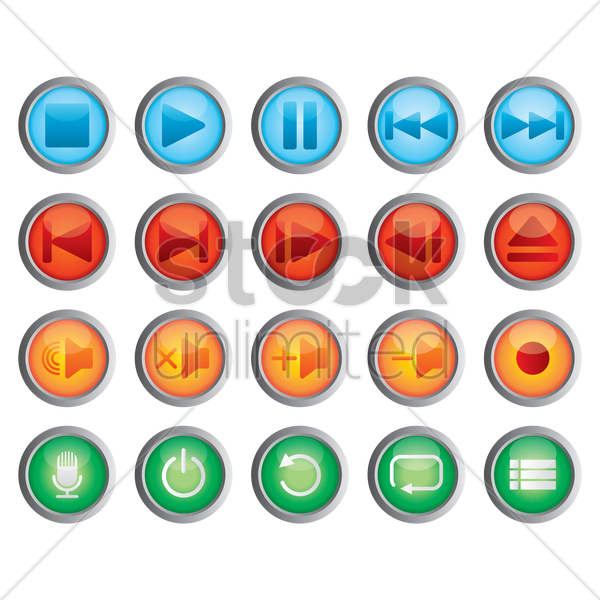 media button collection vector graphic