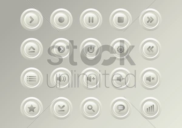 media button collections vector graphic