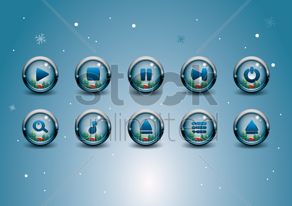 media buttons vector graphic