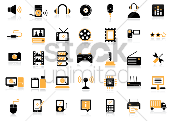 media icons vector graphic