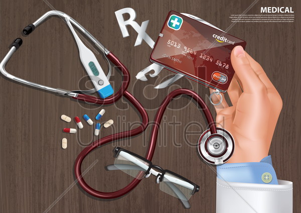 medical credit vector graphic