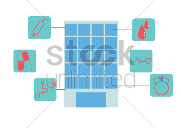 medical infographic of a hospital vector graphic