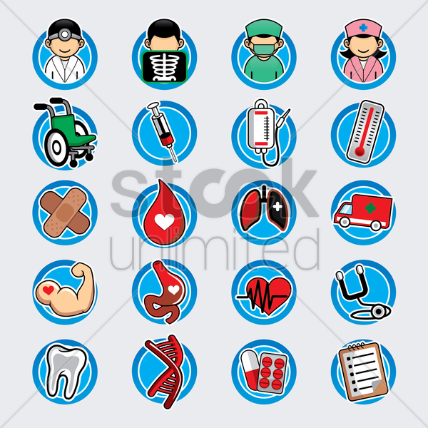 medical item collection vector graphic