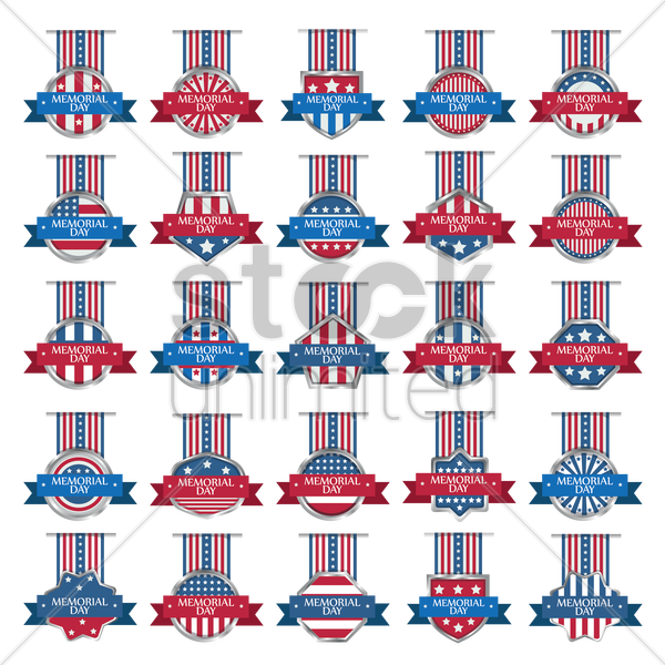 memorial day collection vector graphic