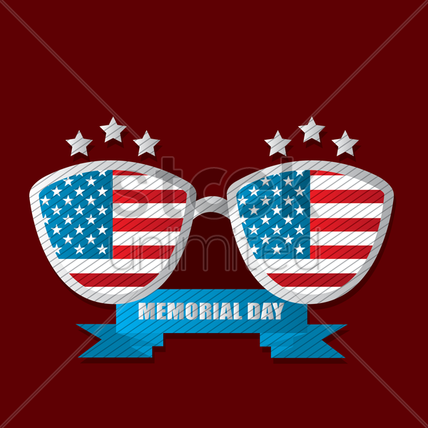Free memorial day label vector graphic