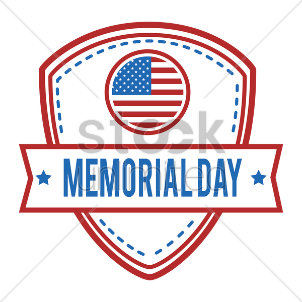 memorial day label vector graphic