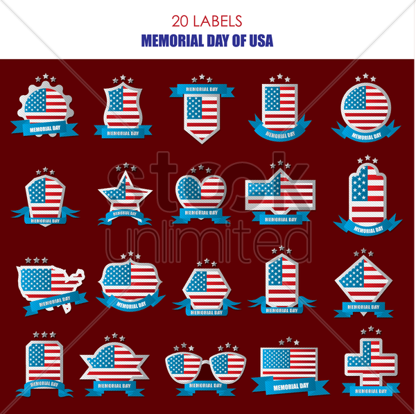 Free memorial day labels vector graphic