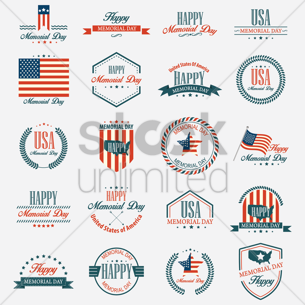memorial day labels vector graphic