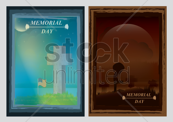 memorial day posters vector graphic