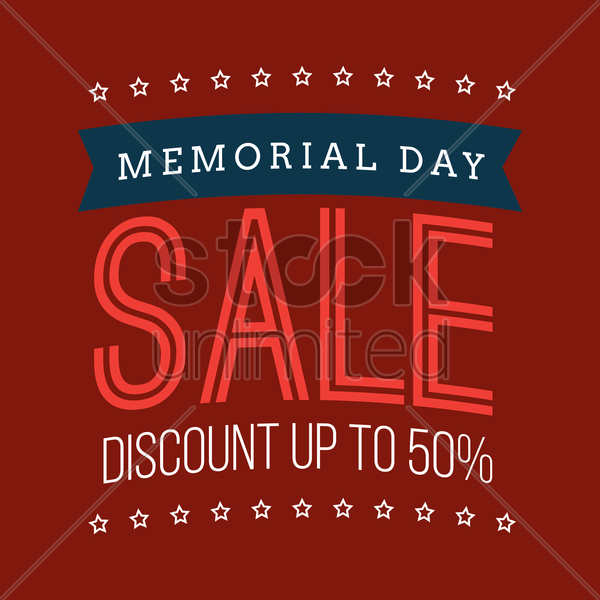 memorial day sale vector graphic