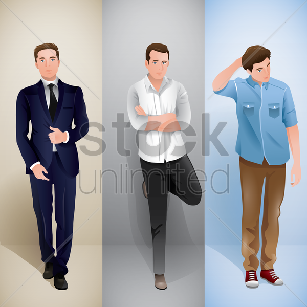 men in different outfit vector graphic
