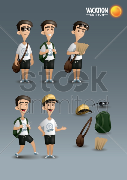 men on vacation edition poster design vector graphic