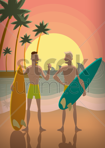 men with surfboards vector graphic