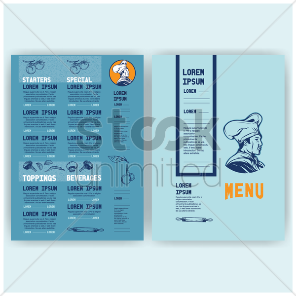 menu card vector graphic