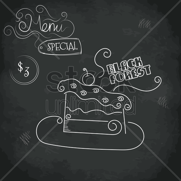 menu special black forest design vector graphic