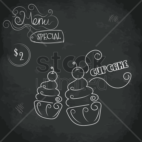menu special cupcake design vector graphic