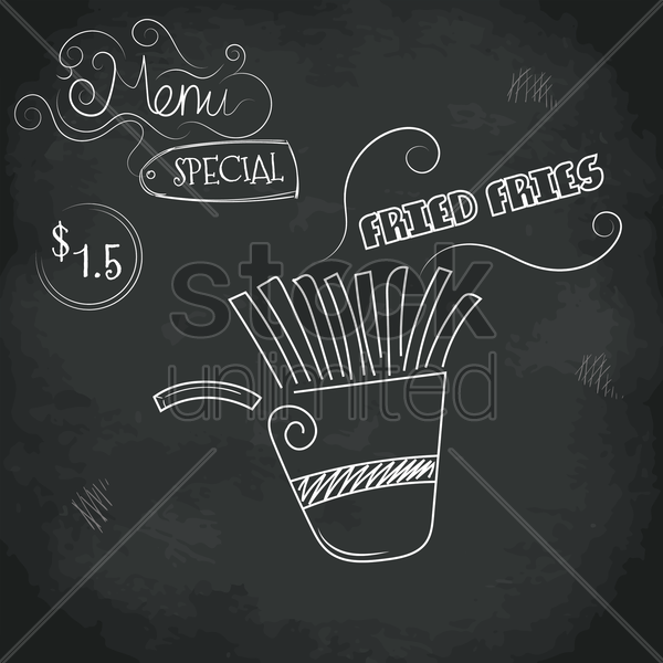 menu special fried fries design vector graphic