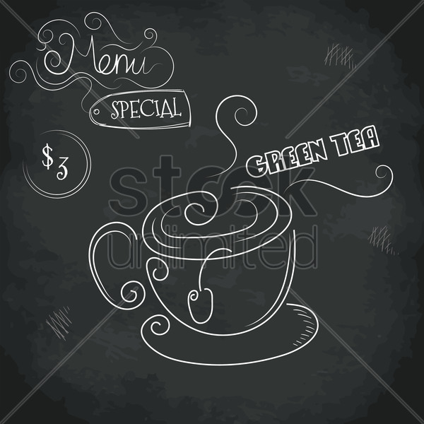 menu special green tea design vector graphic