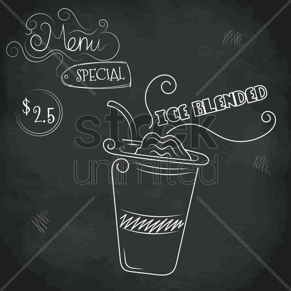 menu special ice blended design vector graphic