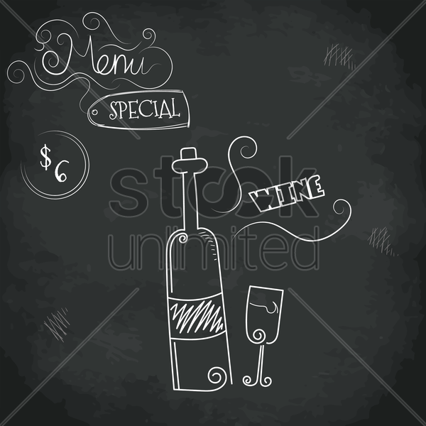 menu special wine design vector graphic