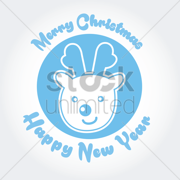 merry christmas and happy new year card vector graphic