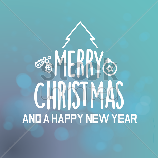 merry christmas and happy new year greeting vector graphic