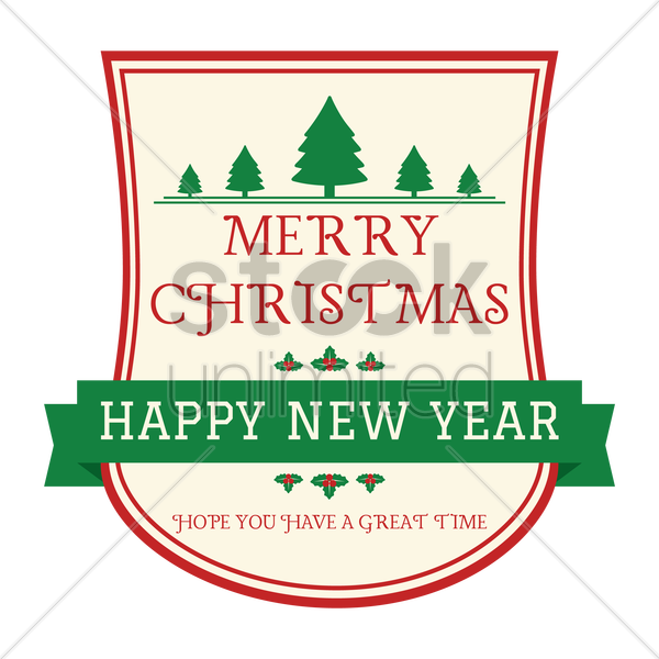 merry christmas and happy new year vector graphic