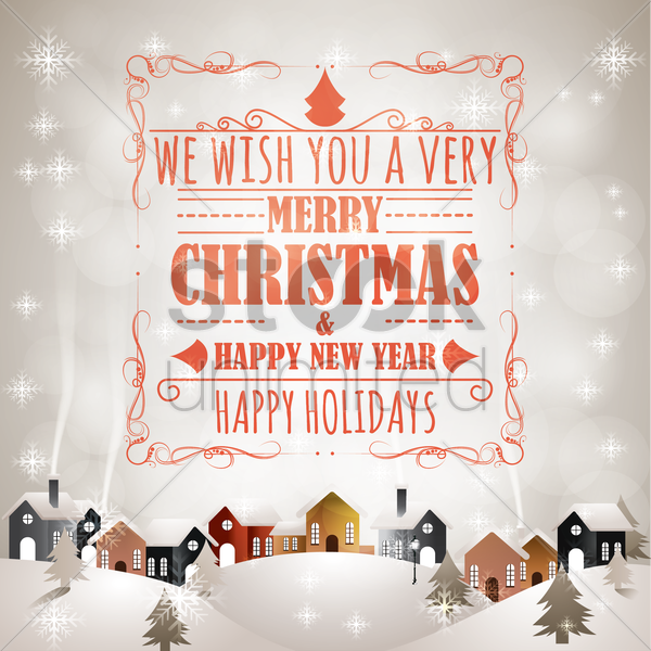 merry christmas and new year card vector graphic