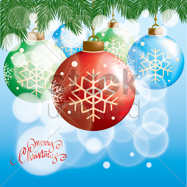 merry christmas card with christmas balls vector graphic