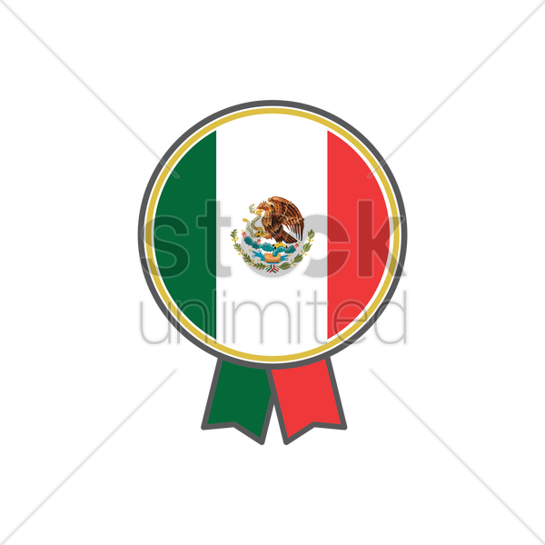 mexican flag badge vector graphic