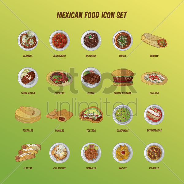mexican food icon set vector graphic
