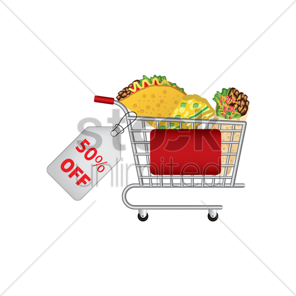 mexican food promotion inside a shopping cart vector graphic