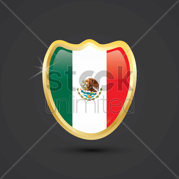 mexico flag button vector graphic