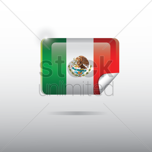 mexico flag sticker vector graphic