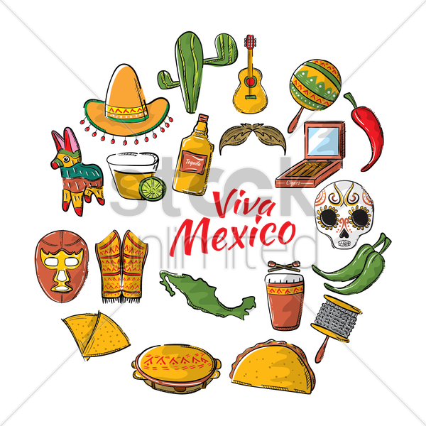 Free mexico icon set vector graphic