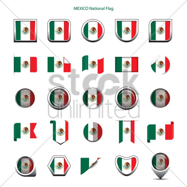 mexico national flag icons vector graphic