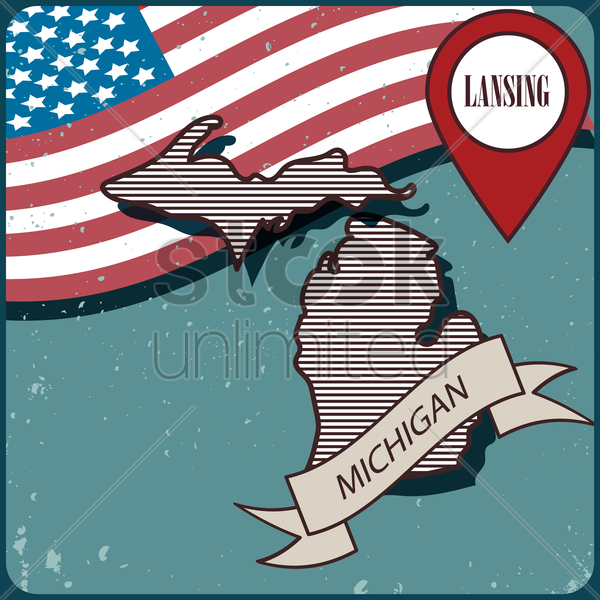 michigan map label vector graphic