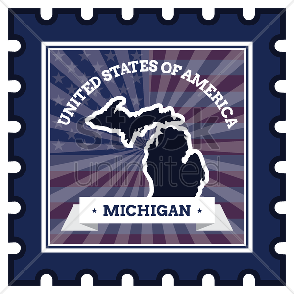 michigan postage stamp vector graphic