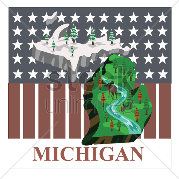 michigan state map vector graphic