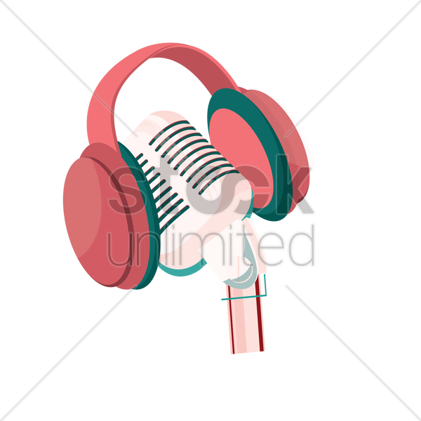 microphone with headphone vector graphic